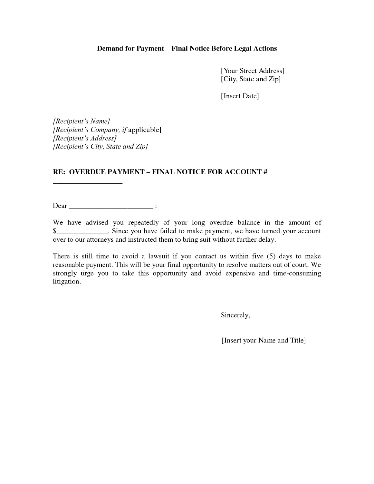 Demand For Payment Letter. Demand For Payment First Demand Letter ...
