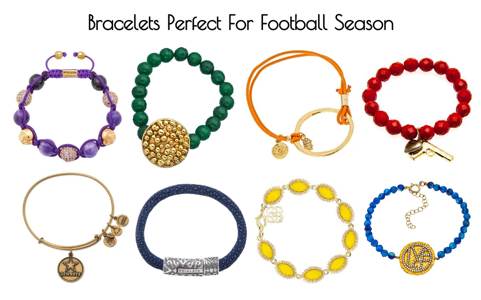college football jewelry, college football bracelets, nfl football bracelets, nfl jewelry, football bracelets