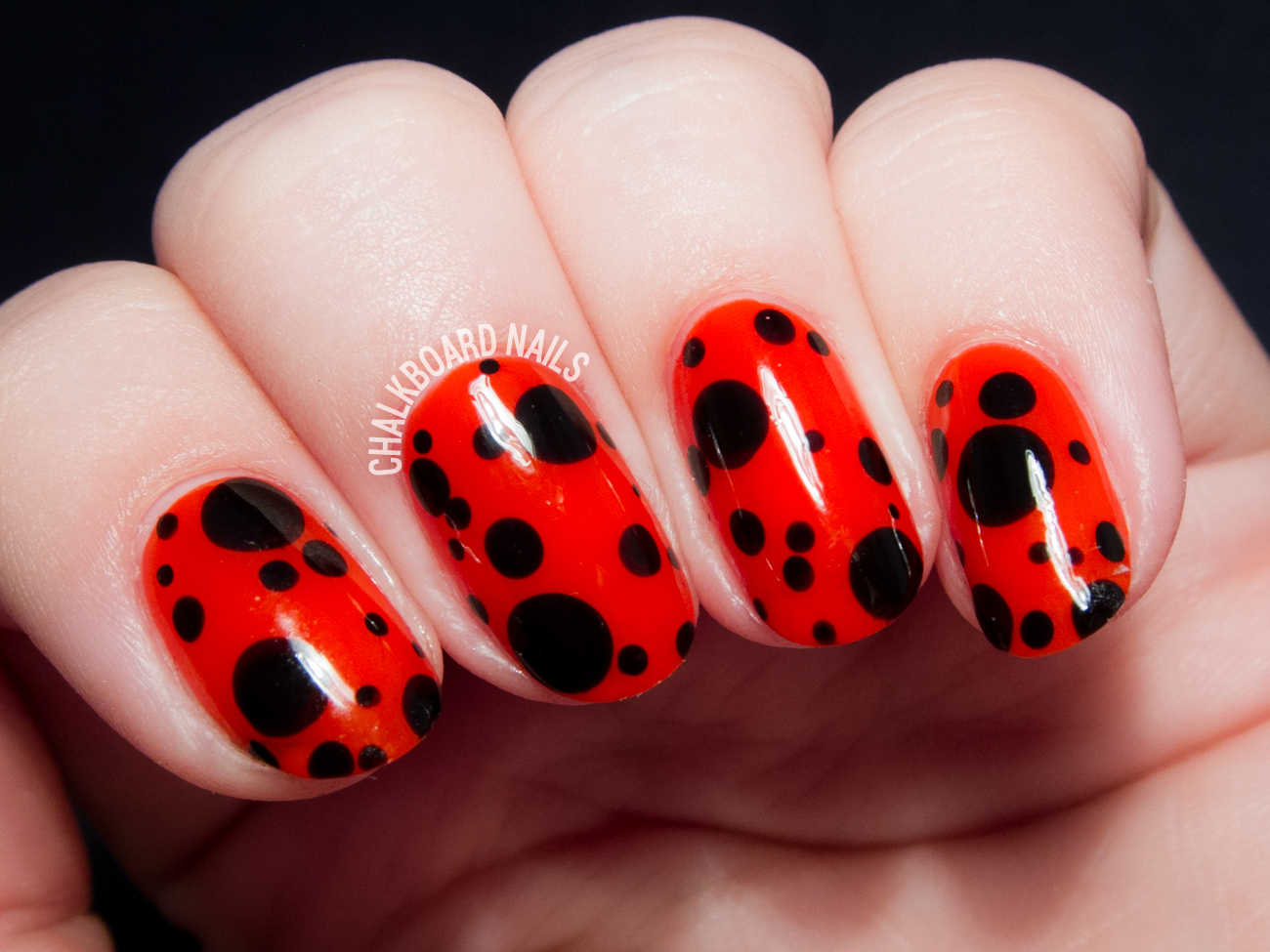 Easy Ladybird Inspired Nail Art By Chalkboardnails