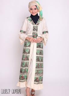 Contoh Gamis Kombinasi Brokat Batik