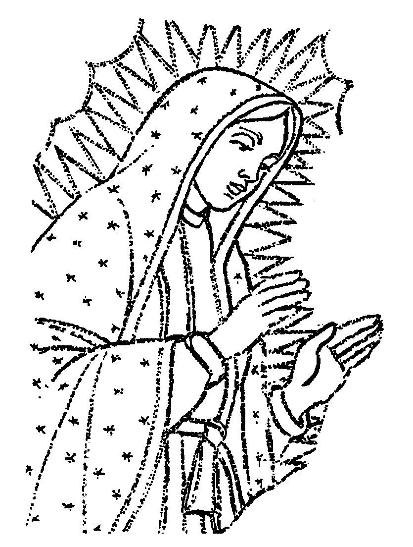 Dibujos De La Virgen De Guadalupe Para Colorear E Imprimir Imagenes De La Virgen De Guadalupe Para Colorear