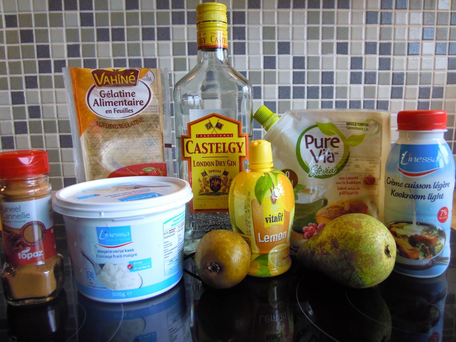 Ingrediënten Panna Cotta met platte kaas en peer