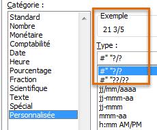 Format personnalisé fraction