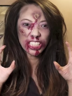 easy zombie halloween makeup style for girls