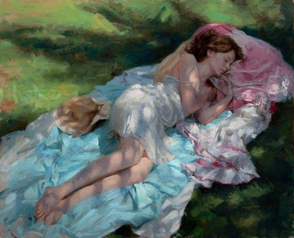 Vicente Romero pinturas mulheres impressionistas beleza Um sono sob a sombra da árvore