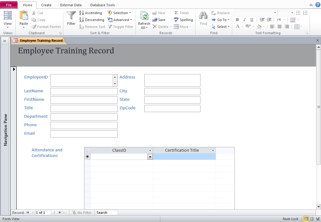 Access Training Database Templates