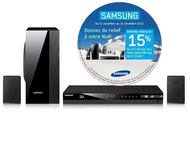1 Home cinéma ou 1 lecteur Bl-Ray 3D Samsung acheté = 15% remboursés