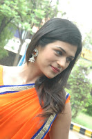 Shraddha Das Spicy Photo shoot in Orange Saree stills