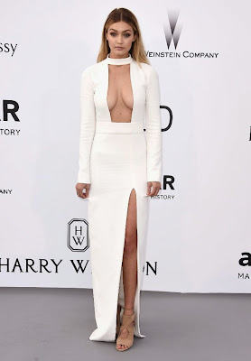 Gigi Hadid bares cleavage in cut-out neckline Tom Ford Gown at the amfAR's 22nd Cinema Against AIDS Gala dresses