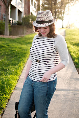 World Market Fedora with striped top