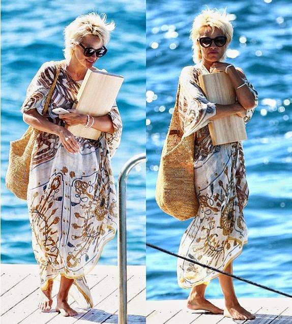 Is she still a student in a University? Pamela Anderson appeared to bring a big wooden box of files.
