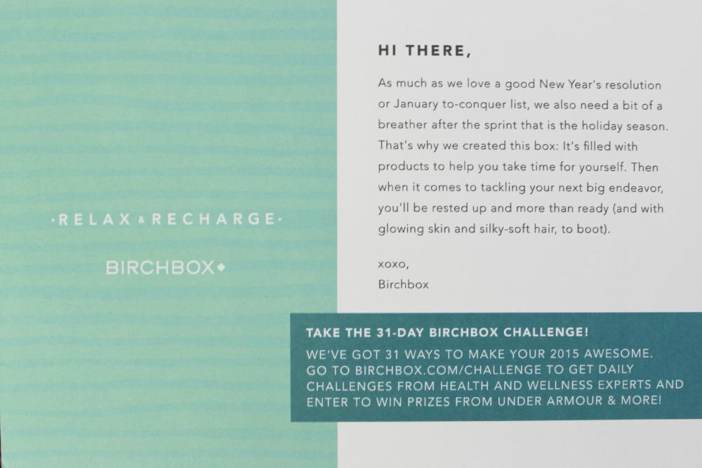 Birchbox January 2015: Relax & Recharge info card
