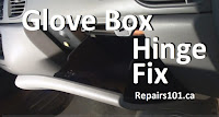 shows repair of broken glove box hinge