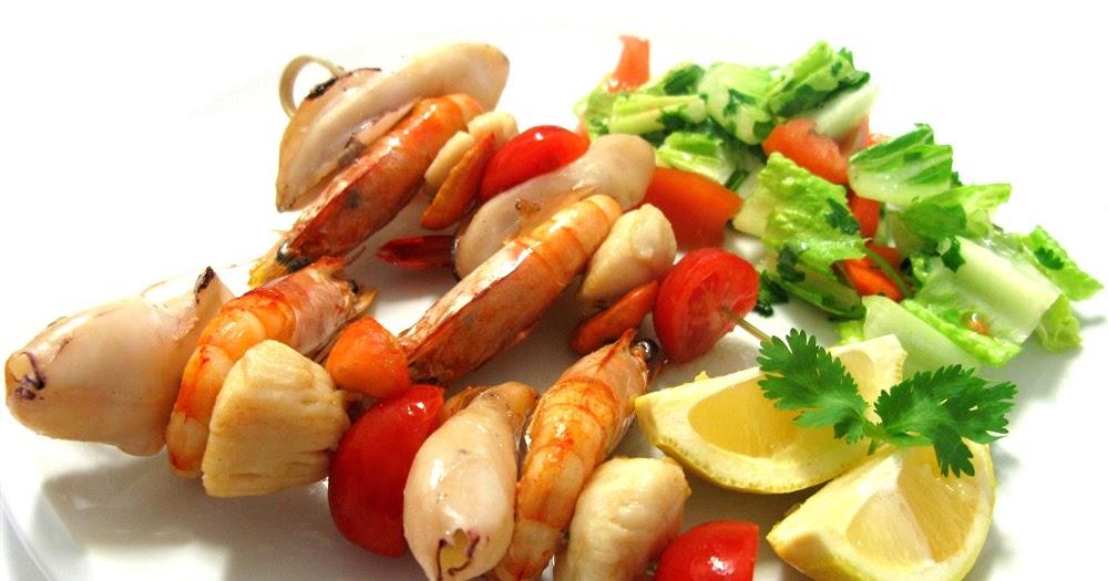 D a a d a brocheta de calamares langostinos y vieiras for Cocinar calamares pequenos