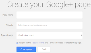 Create a google+ page