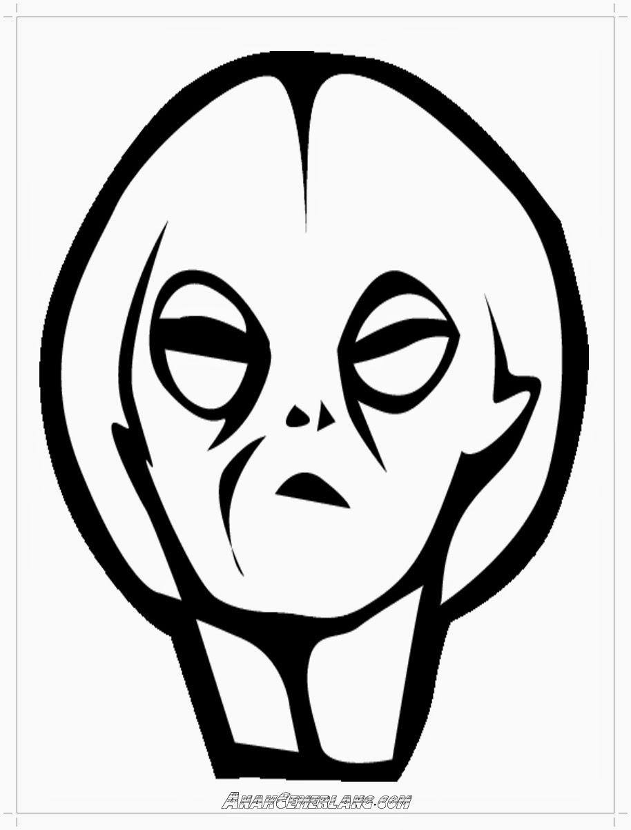 gambar wajah alien untuk mewarnai