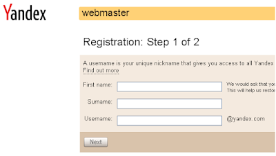 Yandex Webmaster Tools Registration