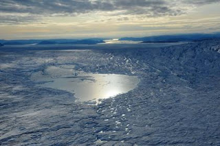supraglacial lake on greenland ice sheet