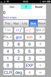 iOS App SciStatCalc screenshot Fourth segment - stats related function, Gamma function, upper and lower incomplete gamma function, error function, inverse error function, least common multiple, greatest common divisor, pi