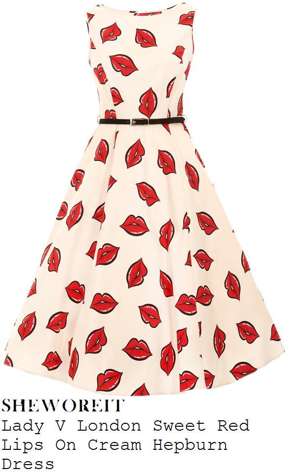 catherine-tyldesley-white-red-lip-print-full-midi-dress