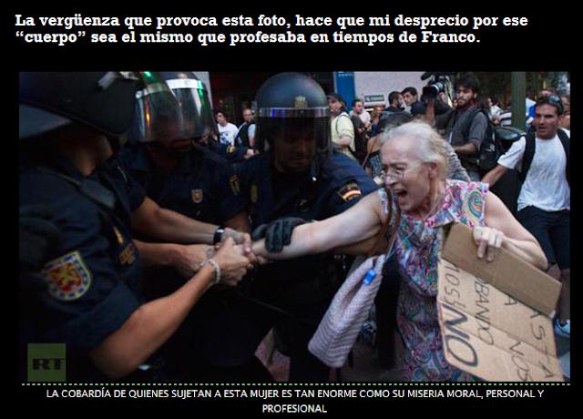 Policias cobardes que abandonan su moral por unos cuantos euros.