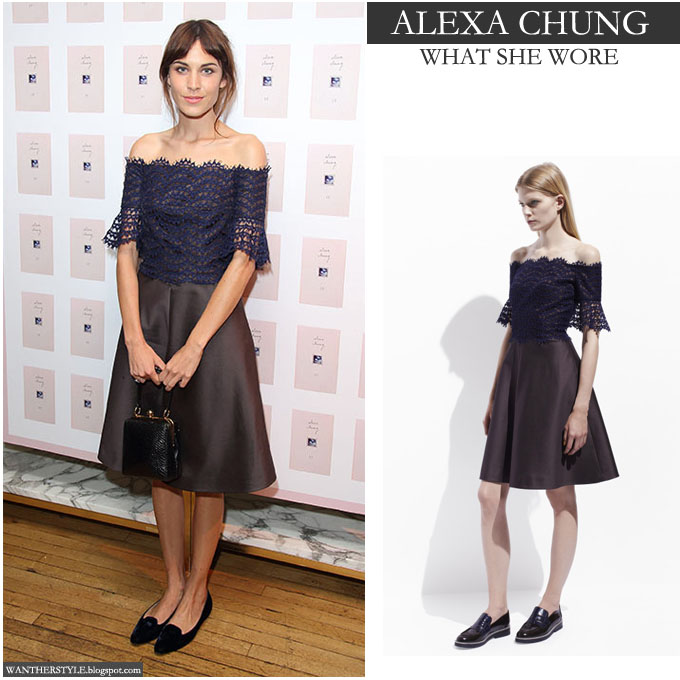 WHAT SHE WORE: Alexa Chung in blue and black lace Carven dress in ...