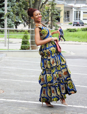 360tickles Long Ankara Dress With Front Slit