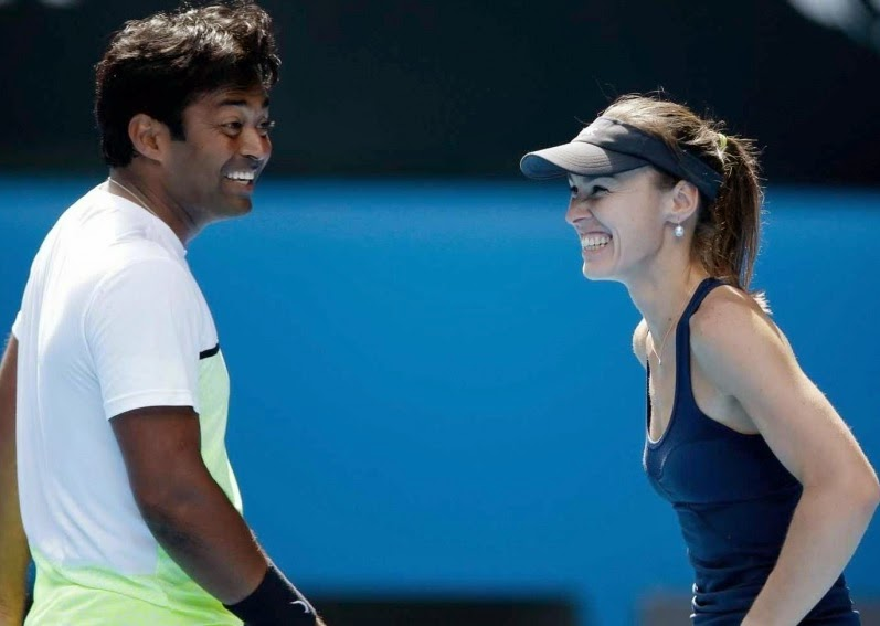 Leander Paes and Martina Hingis mixed doubles champions Australian Open 2015
