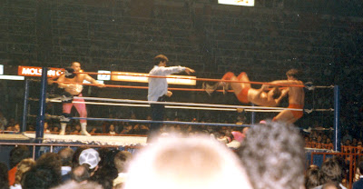 Special referee Danny Davis lays the count on the Rougeau Brothers as the Quebec team executes a team somersault on Bret Hart in the corner of the MLG ring on 12/28/1986.