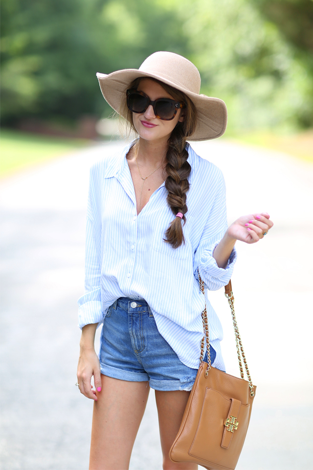 Southern Curls & Pearls Blue and White Button Up