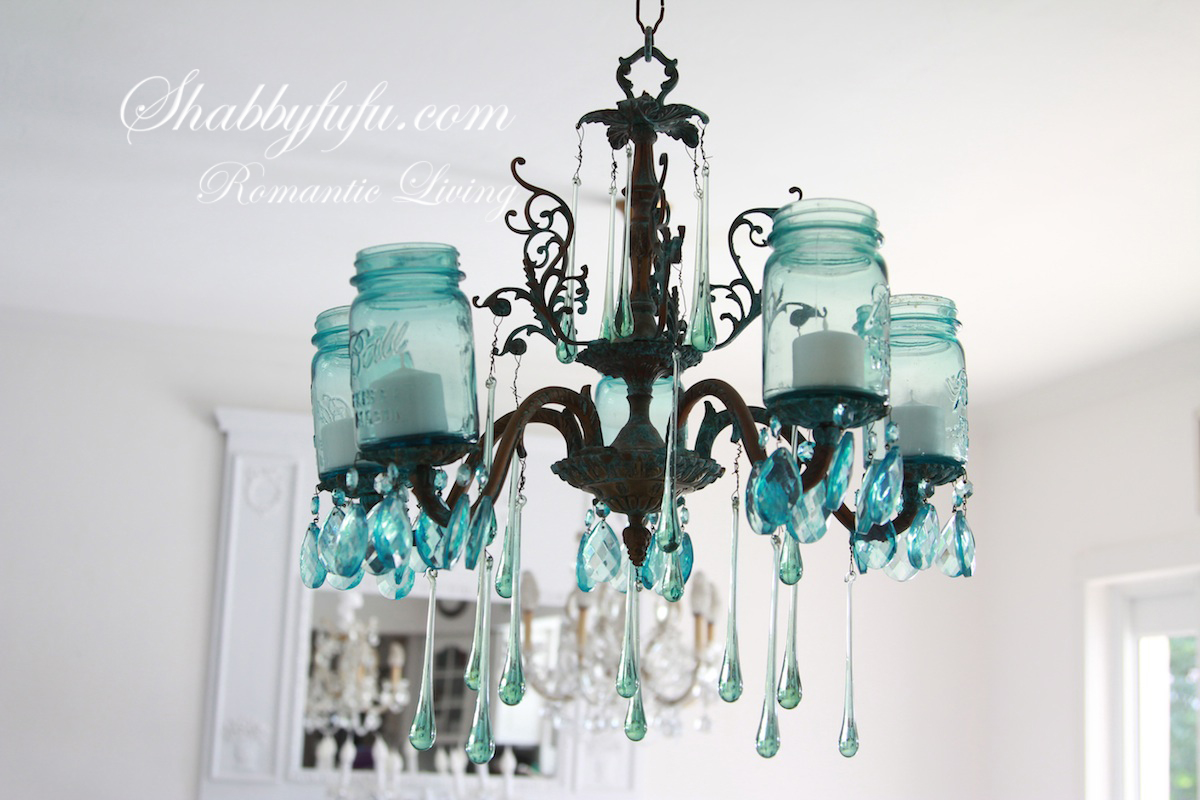 The original shabbyfufu blue mason jar chandelier shabbyfufu the original shabbyfufu blue mason jar chandelier arubaitofo Image collections