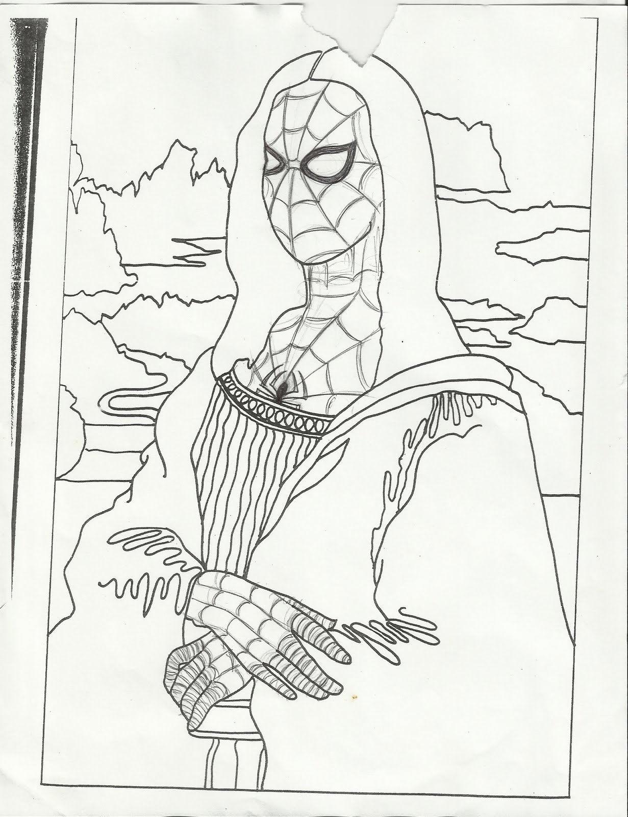 Mona lisa coloring page coloring pages for Mona lisa coloring pages