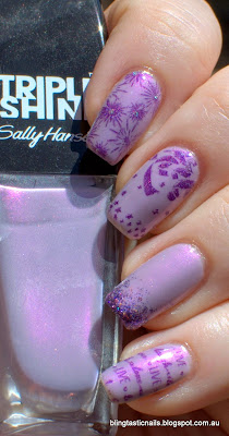 Sally Hansen Drama Sheen with Color Club Wild at Heart stamping
