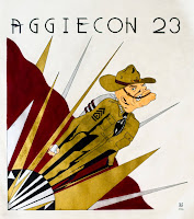 Aggiecon 23 convention logo derived from art deco Rocketeer movie one-sheet