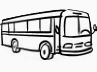 Black line drawing image of a bus