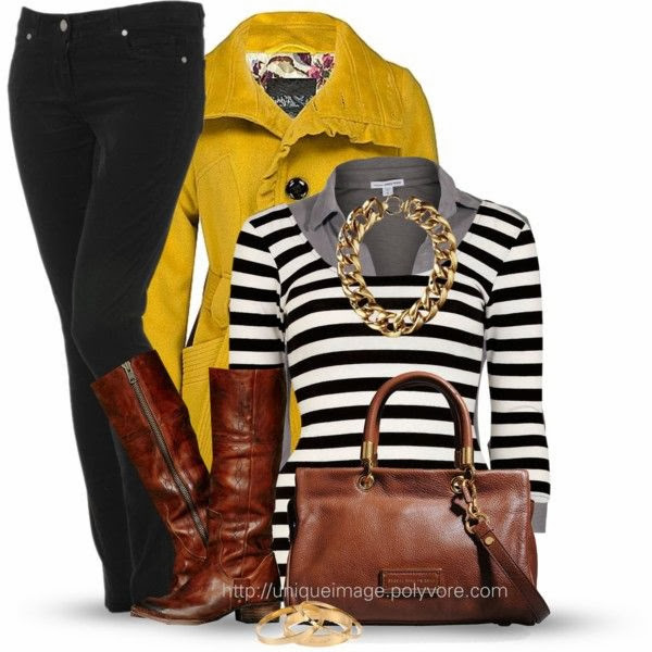 Yellow coat black and white sweater long boots with hand bag