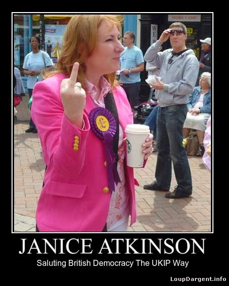 UKIP MEP candidate, Janice Atkinson, giving the finger to members of the public