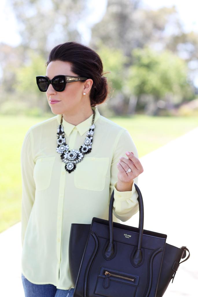loft-neon-blouse-le-tote-black-and-white-statement-necklace-karen-walker-northern-lights-sunglasses-king-and-kind-blog-celine-tote