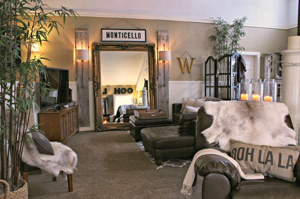Oversized Mirror, Sconce Lamps, Vintage Record Player, Monticello, OOH LA LA metal letters
