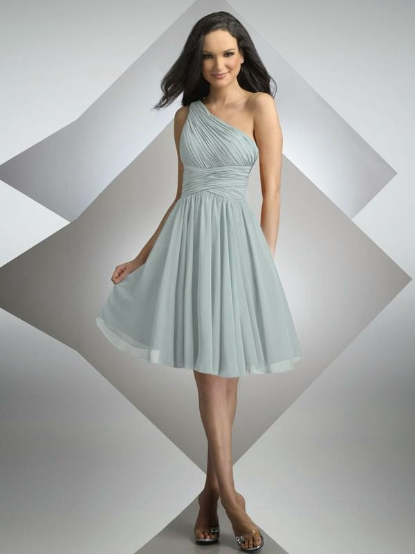 A-line One Shoulder Knee-length Dress