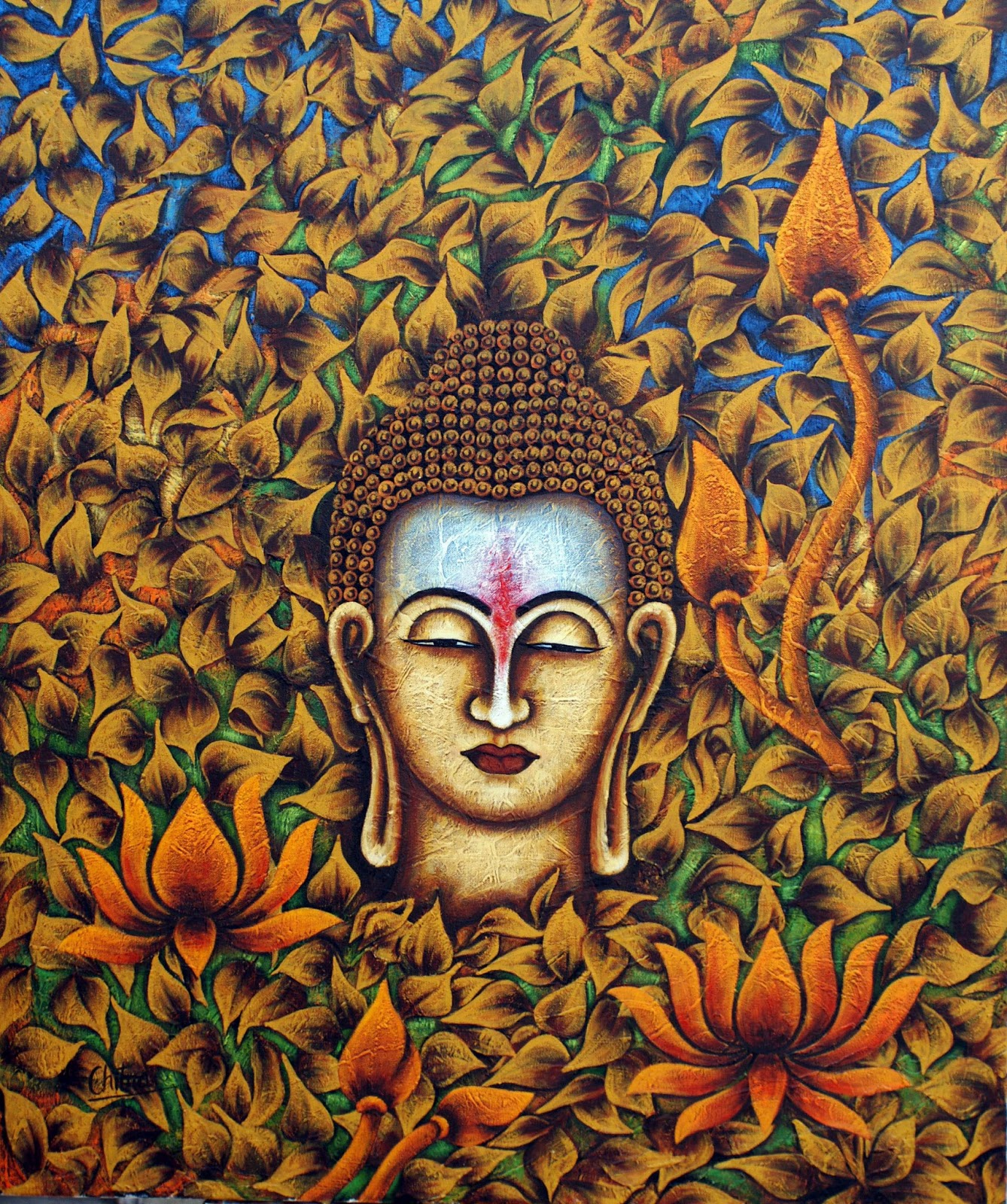 Buddha quotes online lord buddha face painting for Buddha mural paintings