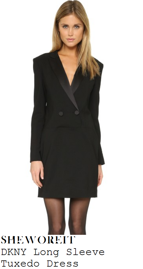 caroline-flack-black-tuxedo-blazer-mini-dress