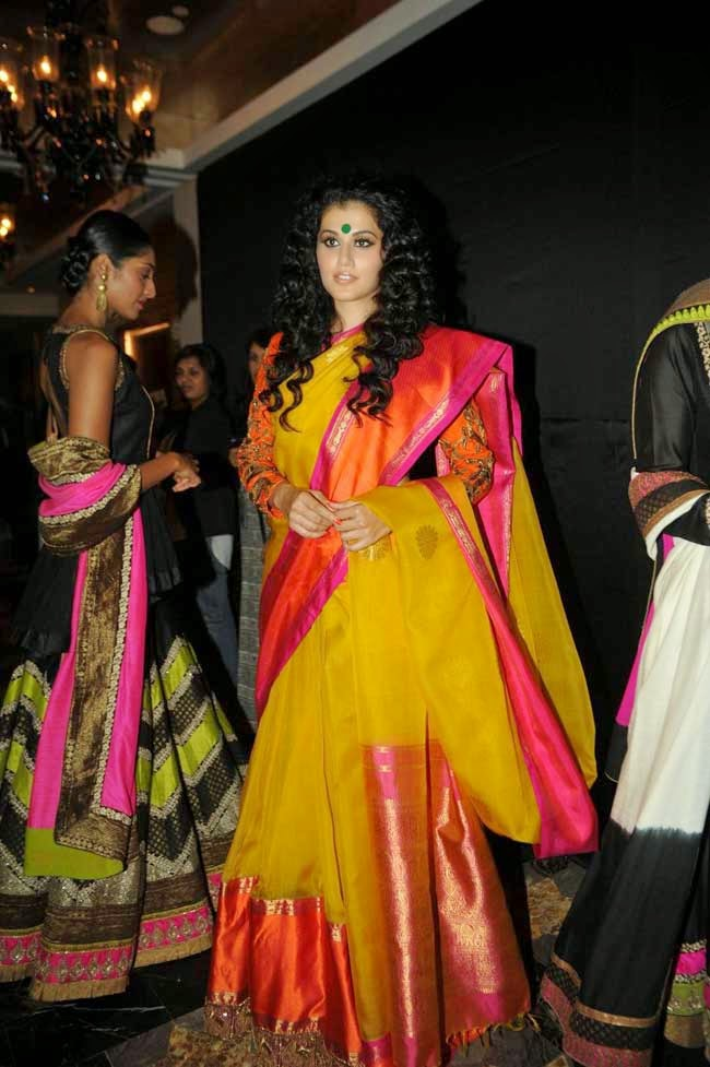 Actress Tapsee Pannu In Yellow Silk Saree