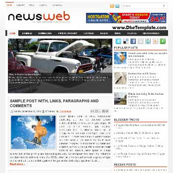 NewsWeb blog template. template blogger with magazine style template. template blogger with image slider template