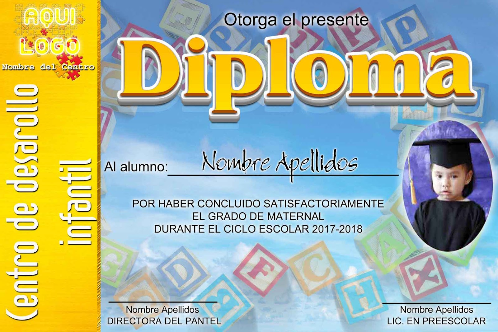 Diploma para Maternal en psd