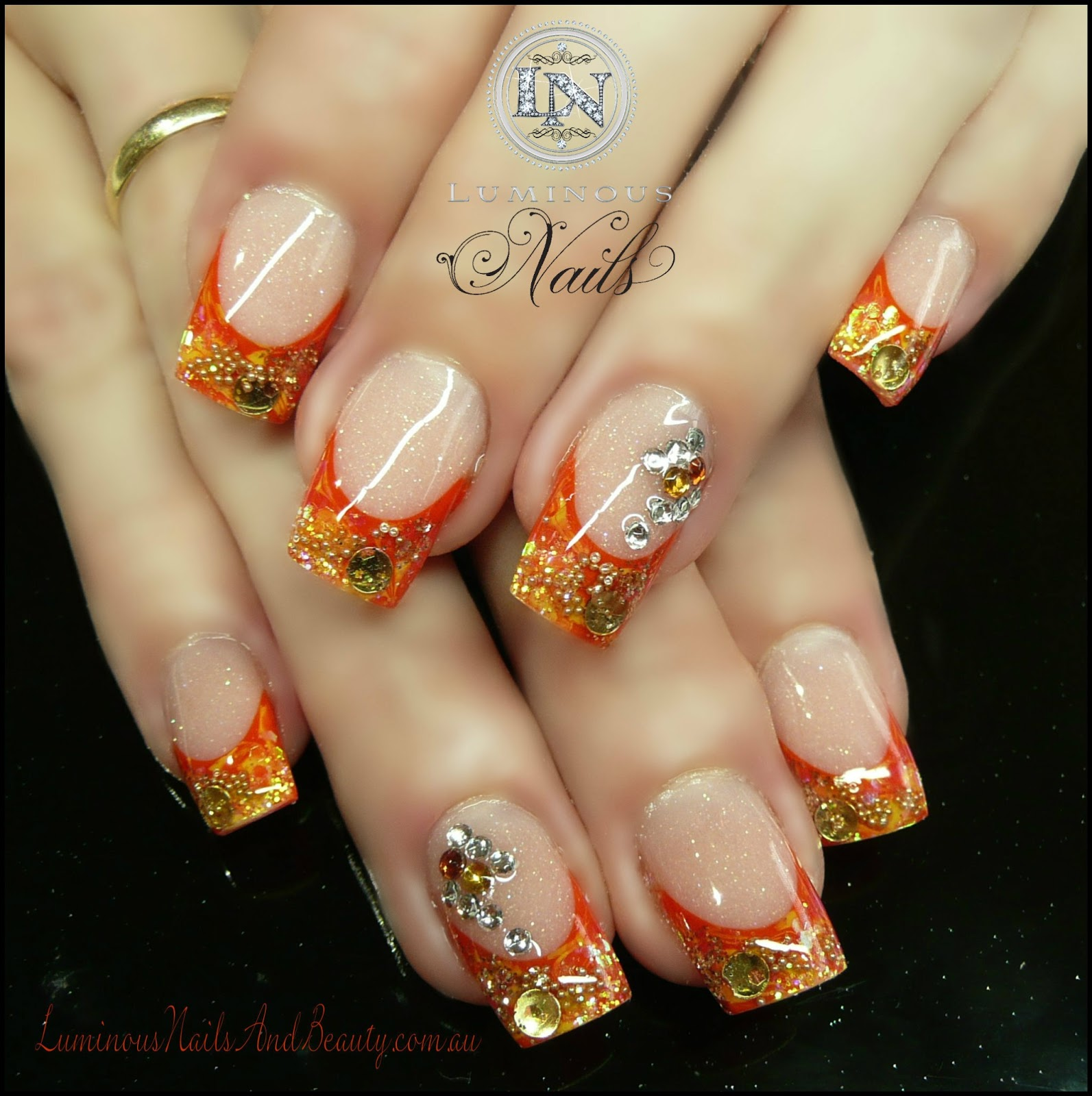 Gold orange nails images for Acrylic nails salon brisbane