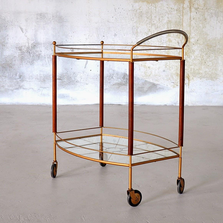 Select Modern Teak Bronzed Rolling Bar Cart