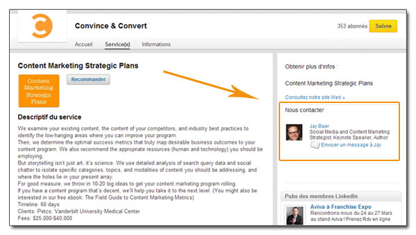 Un contact dans la page produit de LinkedIn