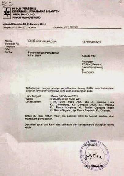 PLN Padamkan Listrik di Wilayah Rancanumpang dan Sekitarnya Senin 16 Februari 2015