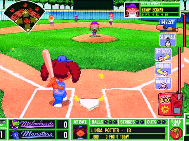 backyard baseball 2003 is a baseball simulation game with cartoon